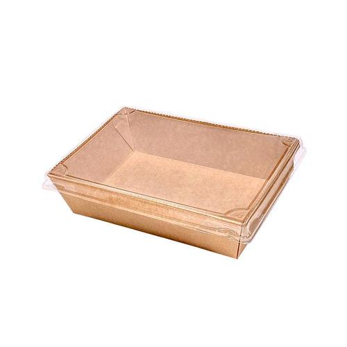 Caixa / Saladeira de Cartão Rectangular Kraft c/ tampa PET 700ml - Pacote 25 unidades