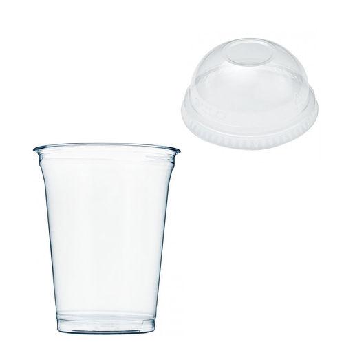 Copo Plástico PET 425ml - Aferidos a 300ml - c/Tampa Cúpula Fechada - Cx Completa 1072 unidades