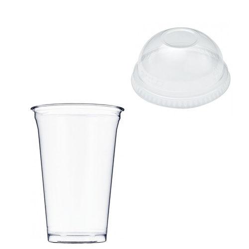 Copo Plástico PET 550ml - Aferidos a 400ml - c/Tampa Cúpula Fechada - Cx Completa 896 unidades