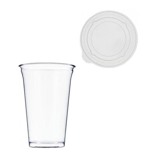 Copo Plástico PET 550ml - Aferidos a 400ml - c/Tampa Plana Fechada - Cx Completa 896 unidades