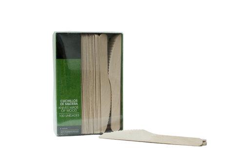 Pack Faca Madeira Eco - Bio 165mm - Manga 100 unidades