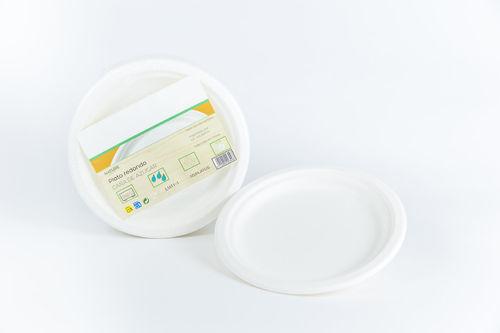 Prato BIO Branco Cana de açucar 22cm - Cx Completa 800 unidades