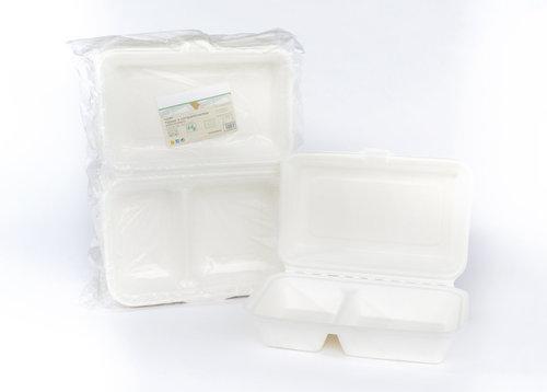 Caixa Alimentos 2 Compartimentos Biodegradável 16,5x22,5cm - pacotes 50 unidades