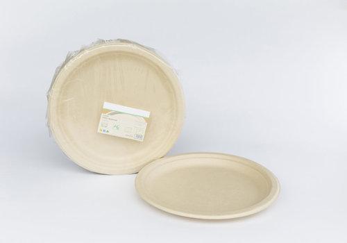 Prato BIO Creme Cana de açucar 26cm  - Cx Completa 800 unidades