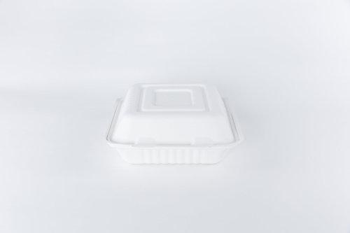 Caixa Hamburguer Biodegradável Branco 15x15cm - Pacote 25 unidades