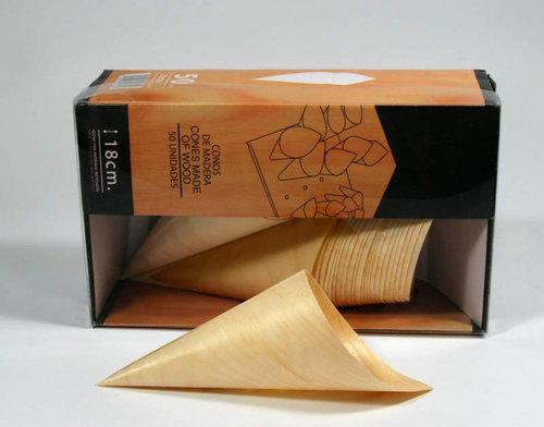 Cone de madeira de 18 cm Caixa completa 1250 unidades