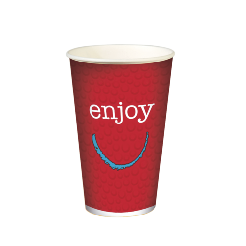 """Copo Cartão Bebidas Frias  """"Enjoy"""" 500ml -Aferido a 400ml (16OZ) Cx completa 1000 Uni s/ Tampa"""