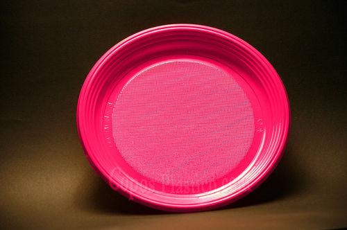 Prato Plástico Descartável 22 Cm 100 Unidades Rosa