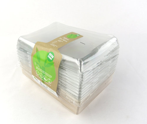 Pack Taça Rectangular c/tampa 750ml BIO - pacote 15 unidades
